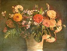 Ecole française dans le goût du XVIIIe. Panier de fleurs sur un entablement. Hui