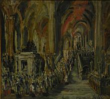 Henri PELLETIER, Le Cortège, huile sur panneau signée en bas à droite. Dim: 48x5
