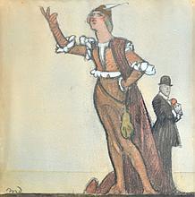 Ecole du début du XXe. Comédien en habit de la Renaissance. Fusain et pastel mon