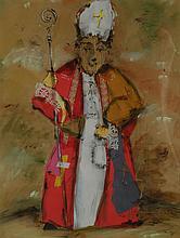 SALVADO (XXème), L'évêque, technique mixte sur papier kraft, signé en bas à droi