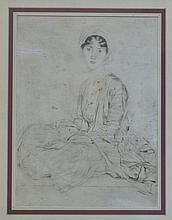 Etienne Adrien DRIAN (1885-1961) Femme assise au turban. Eeau-forte. Taches, déc