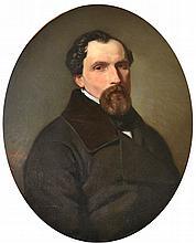VAPELIN, XXe. Portrait d'homme à la barbiche, 1850. Huile sur toile à vue ovale