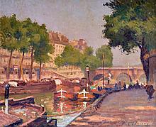 André CHAPUY (c.1885-1941) Quai animé à Paris. Huile sur toile signée en bas à d