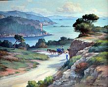 René Marie JOLY DE BEYNAC (1876-1978)  Côte provençale au Rouet. Huile sur toile