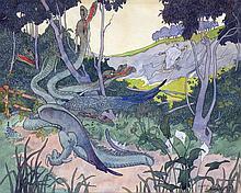 Aristide DELANNOY (1874-1911) La légende de Sinbad le marin. Aquarelle signée en