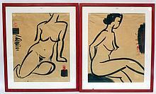Ecole française milieu XXe. Deux nus. Encre de chine et encre rouge. 50 x 40 cm