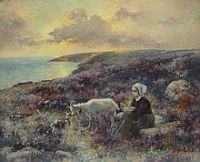 Michel KOROCHANSKY (1866-1925) Jeune bergère dans la bruyère. Huile sur carton s