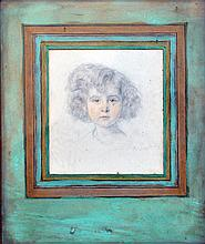 R. DAVID, fin XIXe début XXe. Portrait de fillette. Mine de plom et crayons de c