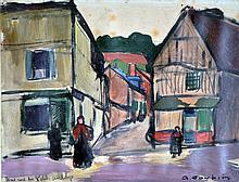 Georges JOUBIN (1888-1983) Rue du Petit Andelys. Huile sur papier marouflée sur