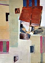 Maria MANTON, XXe. Ruelle. Technique mixte sur toile signée en bas à droite. 34