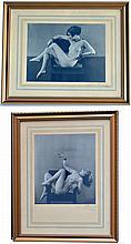 Henri MANUEL (1874-1947) Deux nus au fauteuil. Paire de photographies argentique
