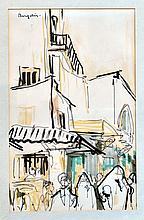 BERGELIN, XXe Rue orientale animée. Feutres noir et de couleurs signé en haut à