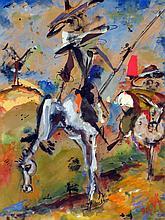 SALVADO (XXème), Don Quichotte et Sancho Panca, technique mixte sur papier kraft