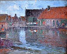 Gaston ROULLET (1847-1925) Canal animé en Hollande. Huile sur carton signé et si