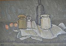 Pierre COQUET né en 1925. Nature morte aux pots, bouteille et oigons. Huile sur