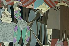 Ecole française d'après les années 30. Scène de la Comedia dell'arte. Huile sur