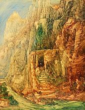 """NÜSSLEIN, HEINRICH (1879-1947): """"Kloster der schwarzen Mönche am Himalaia"""", 20. Jh.,"""