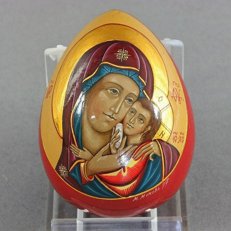 Deko-Ei, Muttergottes von Korsun, Holz gefaßt, 1997.