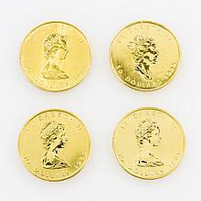 4-teiliges GOLDkonvolut Kanada - bestehend aus 4 x 1 Unze Maple Leaf,