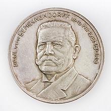 Medaille - Hindenburg, Paul von 1847-1934.