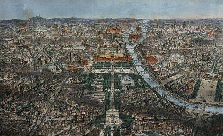 FICHOT, M.CH (1817-1903).: View of Paris with L'Arc de Triomphe and Tuilerien.