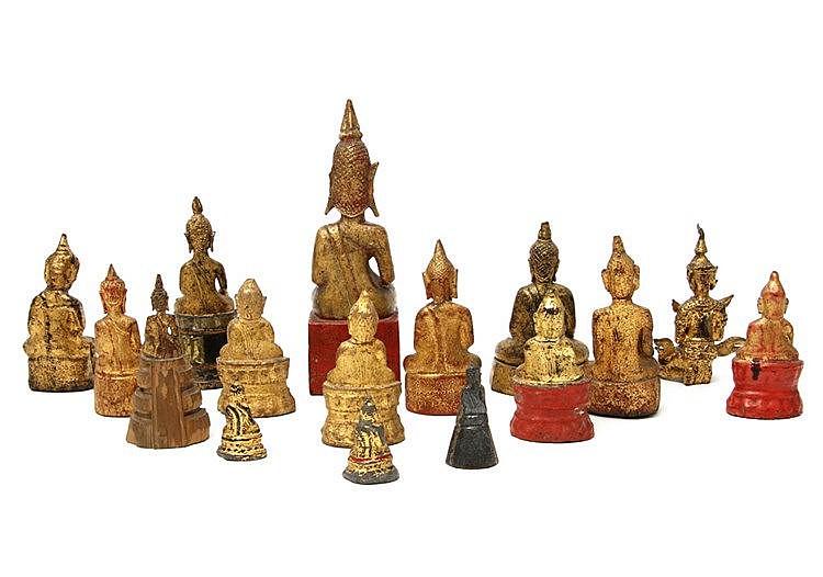 konvolut 16 kleine buddha figuren asiatisch 20 jh. Black Bedroom Furniture Sets. Home Design Ideas