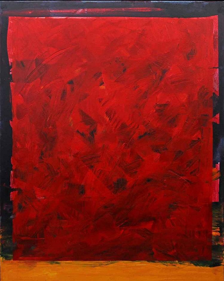 TAMSCHICK, RÜDIGER (*1942): Abstrakte Komposition in Rot.