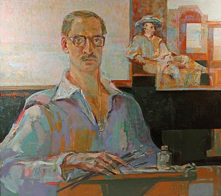 AKEN, WIM VAN (1933-2015): Selbstportrait vor dem Portrait Goethes von J.H.W.Tischbein, 1985.