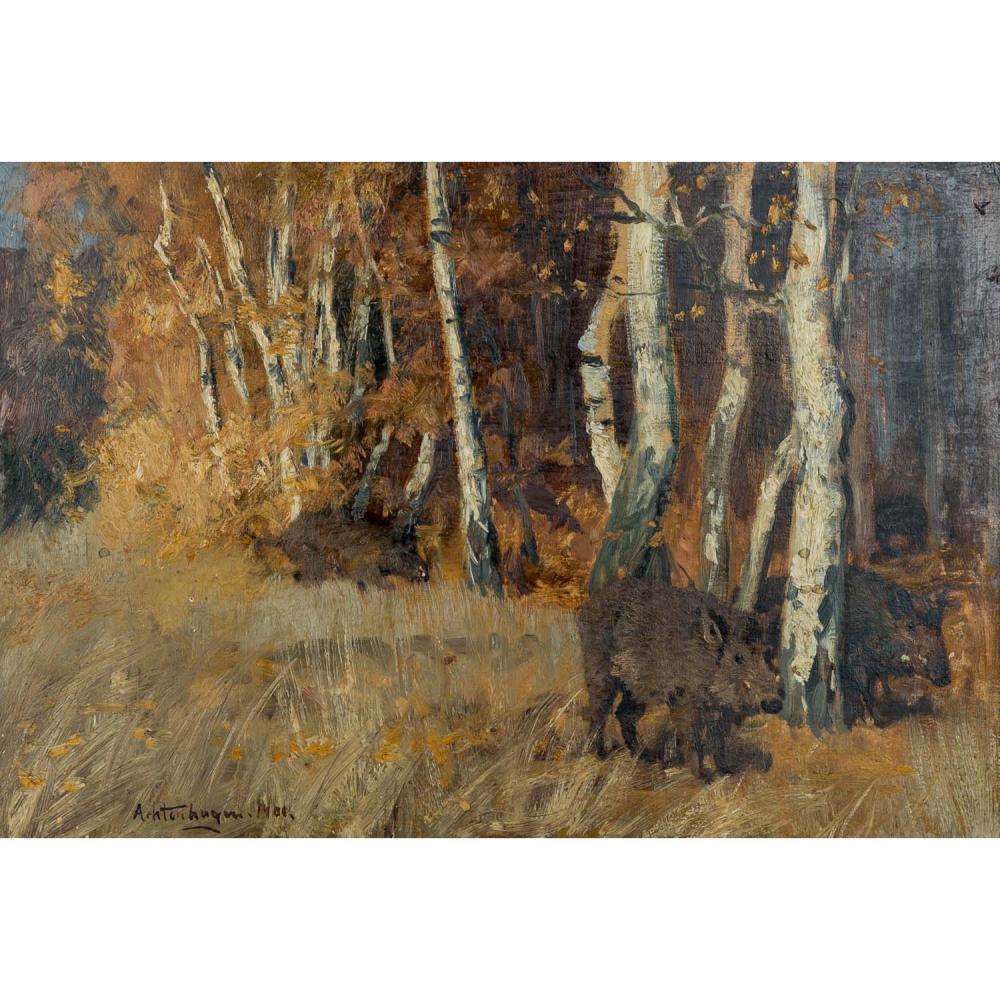 """ACHTENHAGEN, AUGUST (1865-1938), """"Wildschweine in herbstlichem Birkenwald"""","""