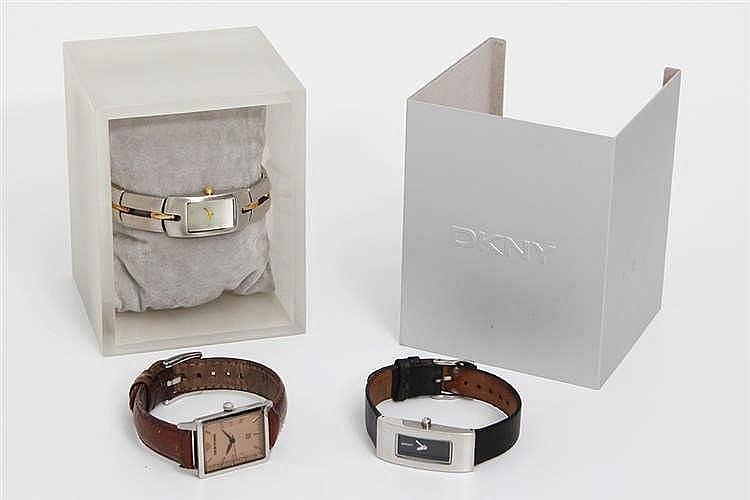 KONVOLUT: ARMANI und zwei DKNY zeitlose Quartz-Werk Damenuhren.