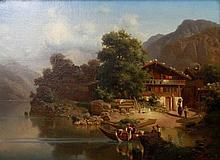 HÖFER, HEINRICH (1825-1878): Bergbauernhof mit Figurenstaffage an alpinem Bergsee, 1866.
