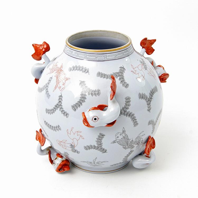 Herend Vase Im Asiatischen Stil 20 Jhd
