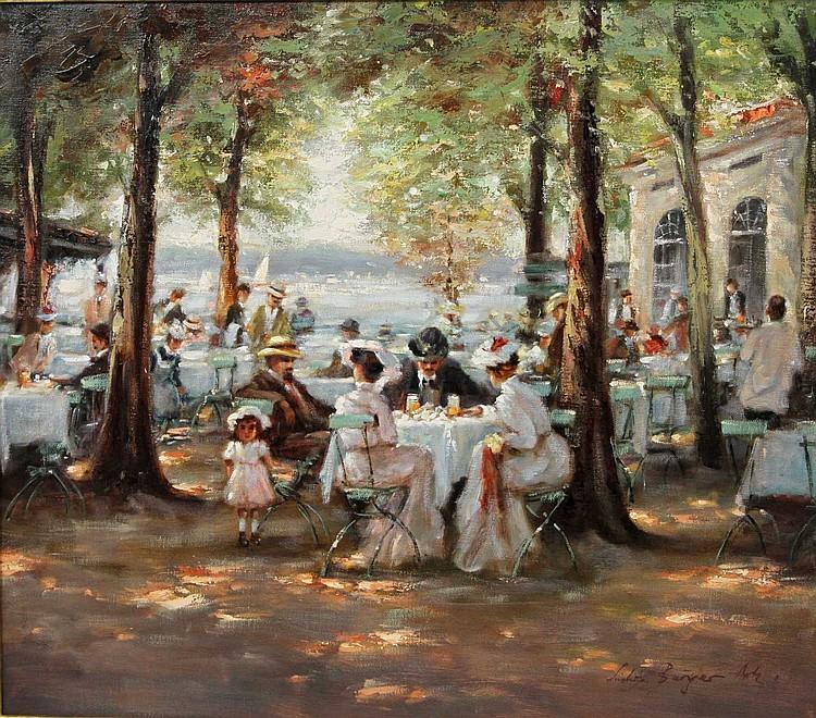 BURGER, LUDWIG (geb. 1927): Impressionistische Café-Szene am See,