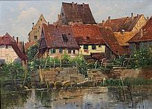 Maler des 19./20. Jh.: Schwäbische Stadtansicht,