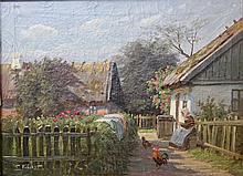 FISCHER, E. (19. Jh?): Blick in einen sommerlichen Bauerngarten