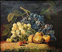 Stilllebenmaler, wohl England 19. Jh.: Früchtestillleben mit Weintrauben,