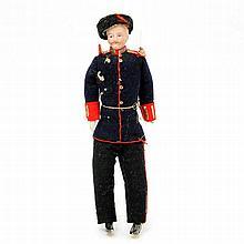 Militär-Puppenstubenpuppe, um 1900,