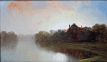 HAAG, HEINZ (?): Reethaus im Morgennebel, 1890,