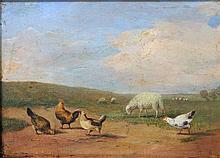 Tiermaler des 19. /20. Jh.: Hühner und Schafe auf einem Feldweg,