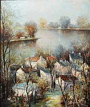 Maler des 20. Jh. (Delaras?): Blick auf ein französisches Dorf am Fluss,