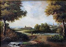 MATZON, FREDERICK (1872-1929): Blick in eine sommerliche Landschaft mit Feldweg und Bäumen,