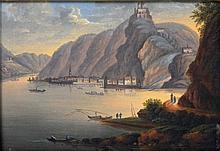 Düsseldorfer Malerschule: Landschaft- Stadtansicht von Oberwesel, um 1840,