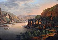 Düsseldorfer Malerschule: Landschaft- Stadtansicht am Rhein, um 1840,
