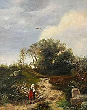 Maler des 19./20. Jh.: Feldweg mit Bäuerin, Brennholz trasportierend,