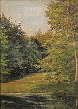 Landschaftsmaler des 20. Jh.: Blick in einen dichten Wald, mit kleiner Lichtung und See,