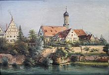 Maler des 20. Jh.: Stadtansicht mit Kirche und Fluss,