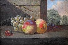 Stilllebenmaler des 19. Jh. (?): Früchtestillleben mit Pfirsichen, Trauben und einer Erdbeere,