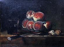 BLOUET, bez. A.G. (?): Früchestillleben mit Pfirsichen, 19./20.  Jh.,