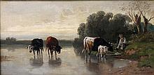 MALI, CHRISTIAN (1832-1906): Hirte mit Kühen am Ufer eines Sees, 1899,