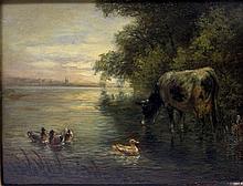 VOLTZ, FRIEDRICH (1817-1886): Weidende Kuh am Seeufer, 19. Jh.,